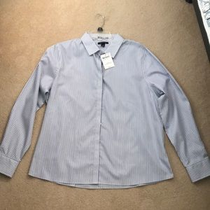 Lands' End Long Sleeve Striped Button Down